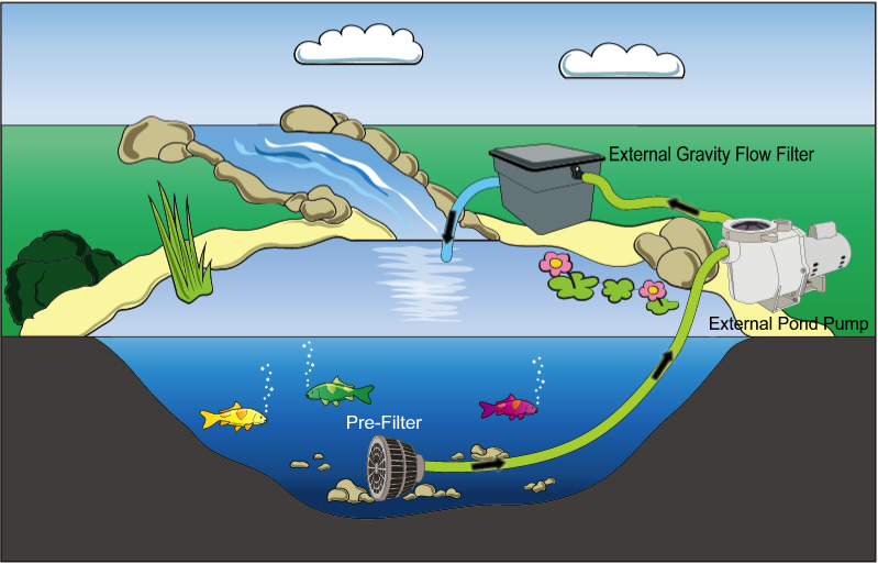 Adequate flow thru a bioconverter k o i for Pond filtration system diagram
